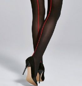 Black Tights with Contrasting Red Seam 40 Den